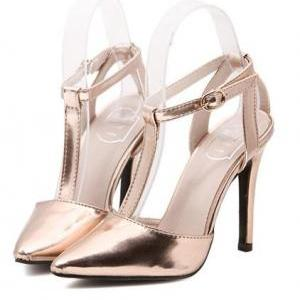 Metallic Pointed Toe High Heel Stil..