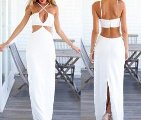 Women fashion summer holiday two piece set sexy crop white dress