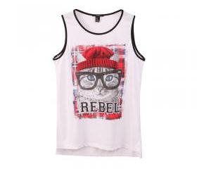 Cute animal ladies sleeveless vest T-shirt
