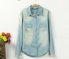 Long-sleeved denim jacket and long sections women rivet denim shirt shirt big yards
