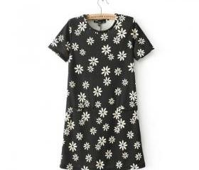 Short-sleeved short-sleeved mini dress female flowers