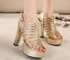 Thick with high with mixed colors with fine mesh fish head high-heeled sandals style Bromma