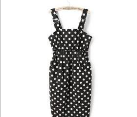 College sweet Polka Dot waist strap dress was thin waist strap dress
