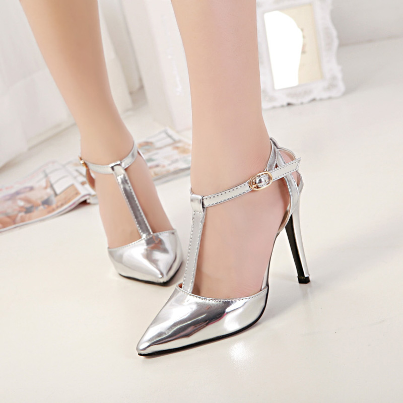 Metallic Pointed Toe High Heel Stilettos Featuring T Strap Detailing
