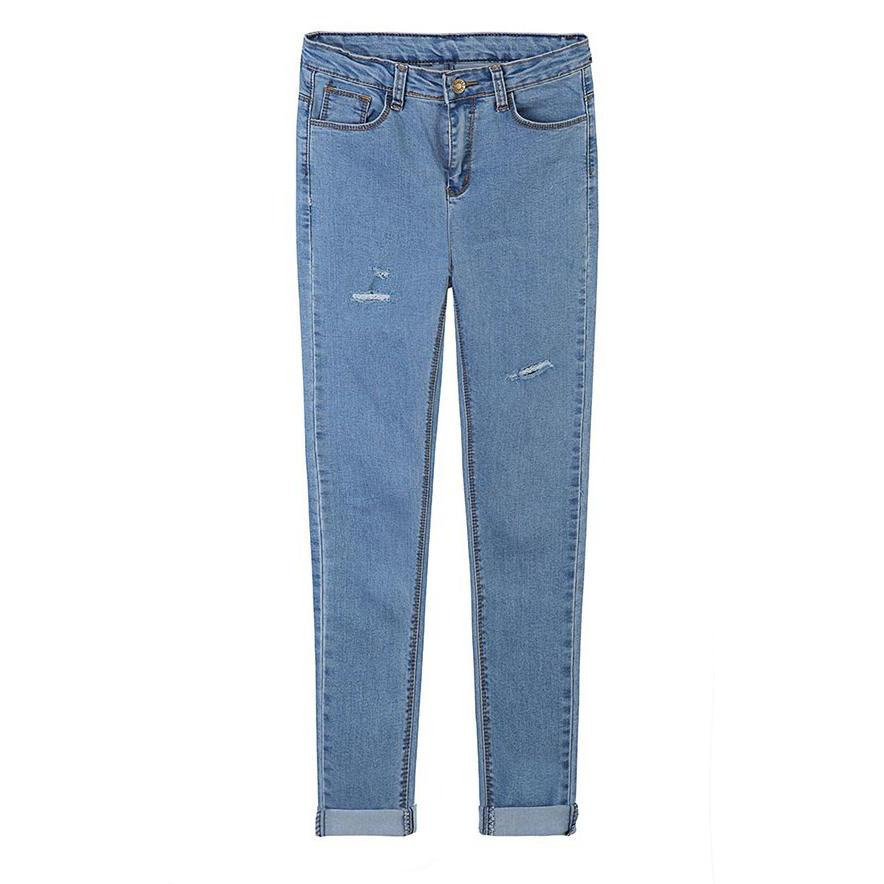 High Rise Skinny Jeans Featuring Distressed Detailing and Foldable Cuff
