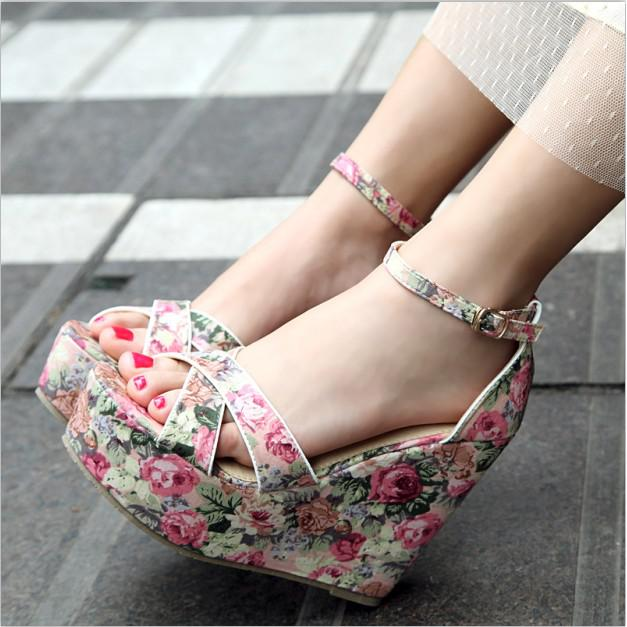 Blue Floral Wedge Shoes