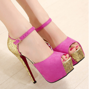 High with fine with Roman -style word -style buckle shoes with sequins fish head