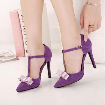 Fine with high-heeled pointed bow T T-Strap Heels
