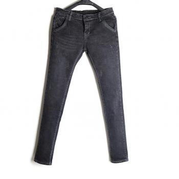 Stretch Washed Leather skull simplicity feet pencil jeans